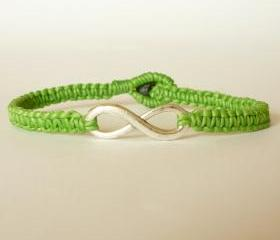 Green Infinity - Simple Single Silver Infinity Sign/Eight woven with Green Wax Cord Bracelet / Wristband - Men Jewelry - Unisex