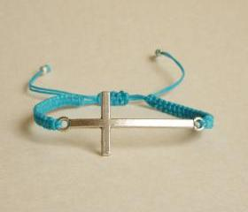 Silver Sideways Cross Blue Friendship Bracelet with Adjustable Style - Gift for Him - Gift under 15 - Unisex
