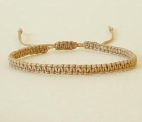 Simple Single Line Tan Friendship Bracelet / Wristband - Gift under 5 - Adjustable Bracelet