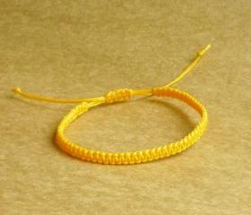 Simple Single Line Marigold Yellow Friendship Bracelet / Wristband - Customized Bracelet - Gift under 5 - Adjustable Bracelet