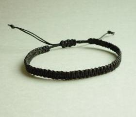 Simple Single Line Black Friendship Bracelet / Wristband - Customized Bracelet - Gift under 5 - Adjustable Bracelet