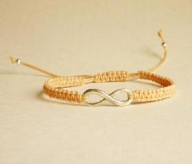 Silver Plated Infinity Tan Friendship Bracelet with Adjustable Style - Gift for Him - Gift under 15 - Unisex