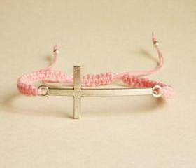 Silver Sideways Cross Pink Friendship Bracelet with Adjustable Style - Gift for Her - Gift under 15 - Unisex
