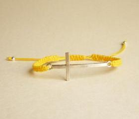 Silver Sideways Cross Yellow Friendship Bracelet with Adjustable Style - Gift for Her - Gift under 15 - Unisex