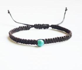 Blue Turquoise Bead in Black Friendship Bracelet with Adjustable Style - Gift for Him - Gift under 10 - Unisex