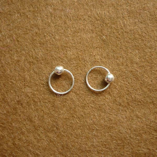 8 mm tiny silver hoop earrings with ball captive bead