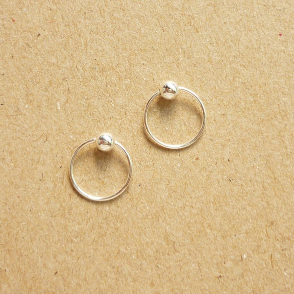10 mm tiny silver hoop earrings with ball captive bead