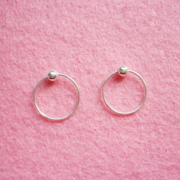 12 mm Tiny Silver Hoop