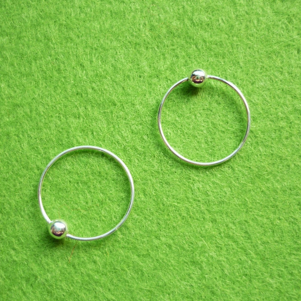 14 mm tiny silver hoop earrings with ball captive bead